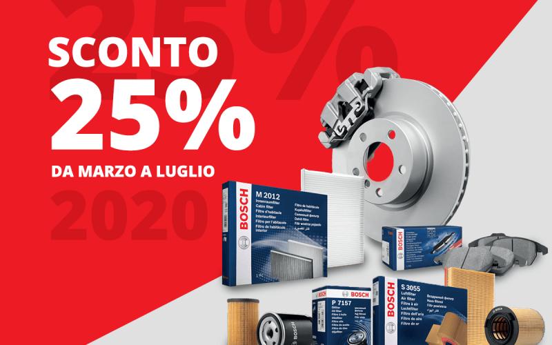 Promozione Primavera 2020 – Sconto del 25% su filtri, dischi e pastiglie freno Bosch